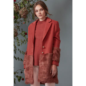 Anthropologie Keepsake Faux Fur Coat Jacket